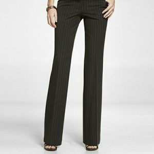 Express Black Pinstriped Editor Flared Dress Pants